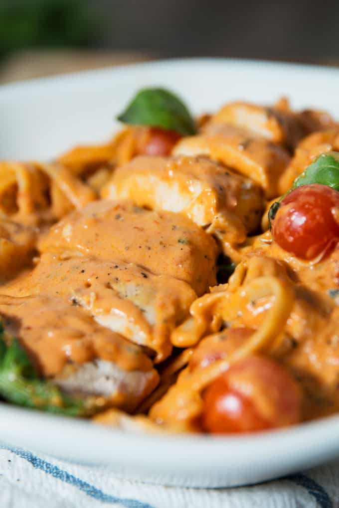 Rosa Chicken Caprese Pasta in a bowl