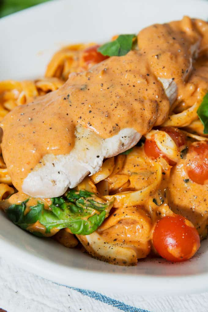 close up of Rosa Chicken Caprese Pasta