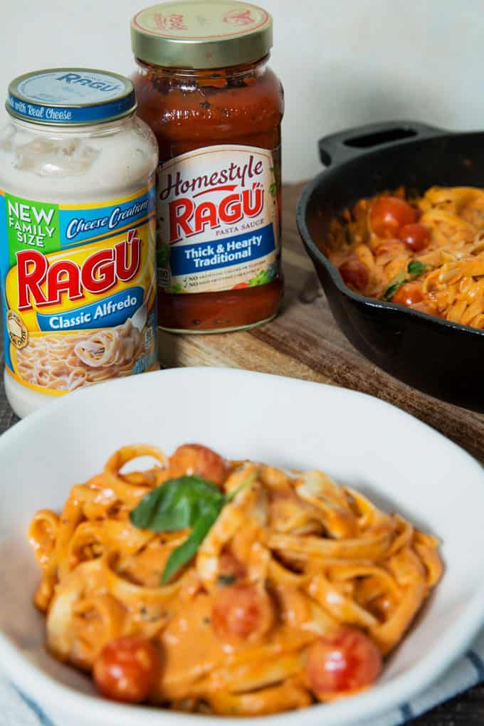 jars of Ragu classic Alfredo and thick and hearty traditional sauce and Rosa Chicken Caprese Pasta