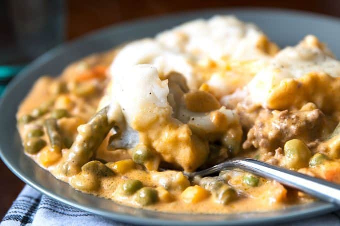 slow cooker shepherds pie with a fork