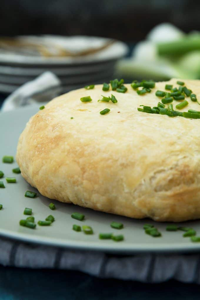 photo of leek mushroom cheese stuffed puff pastry