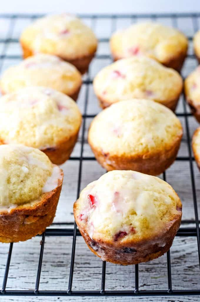 strawberry muffins on a cooling rack