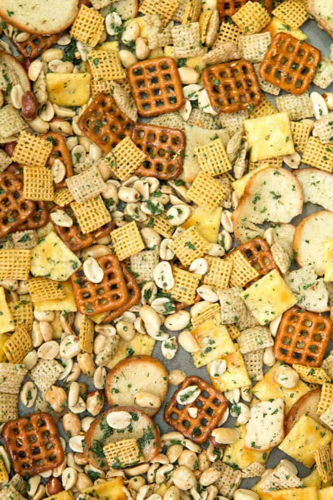 ranch snack mix on a sheet pan