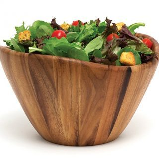 "Lipper International 1174 Acacia Wave Serving Bowl for Fruits or Salads, Large, 12"" Diameter x 7"" Height, Single Bowl"