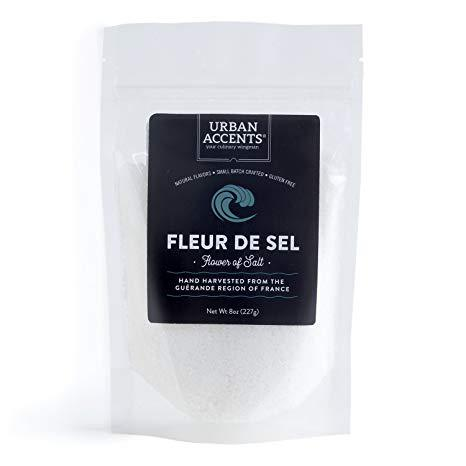Urban Accents Fleur de Sel - Flower of Salt –Sea Salt from France, Great for Savory & Sweet Dishes and Hand Harvested by Wooden Tools, for an Airy, Fluffy Texture, 8 Ounces.