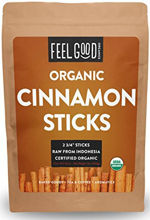 "Organic Cinnamon Sticks - 100+ Sticks - 2 3/4"" Length - 16oz Resealable Bag (1lb) - 100% Raw From Indonesia - by Feel Good Organics"
