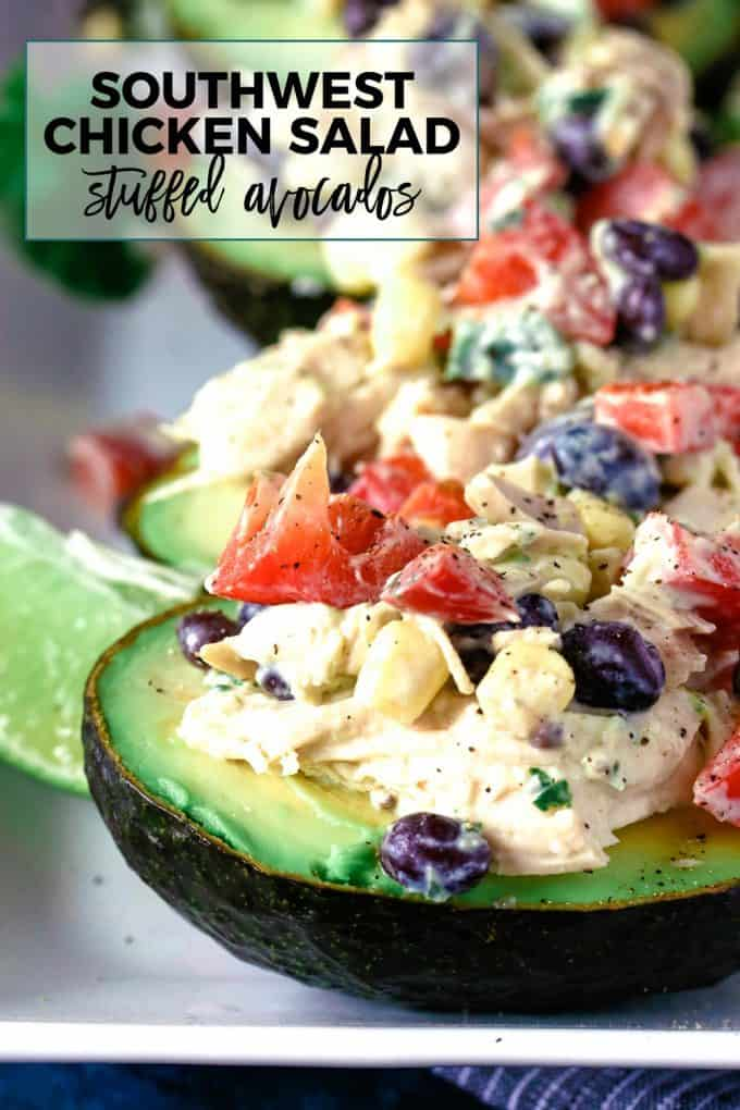 southwest chicken salad stuffed avocados pinterest image