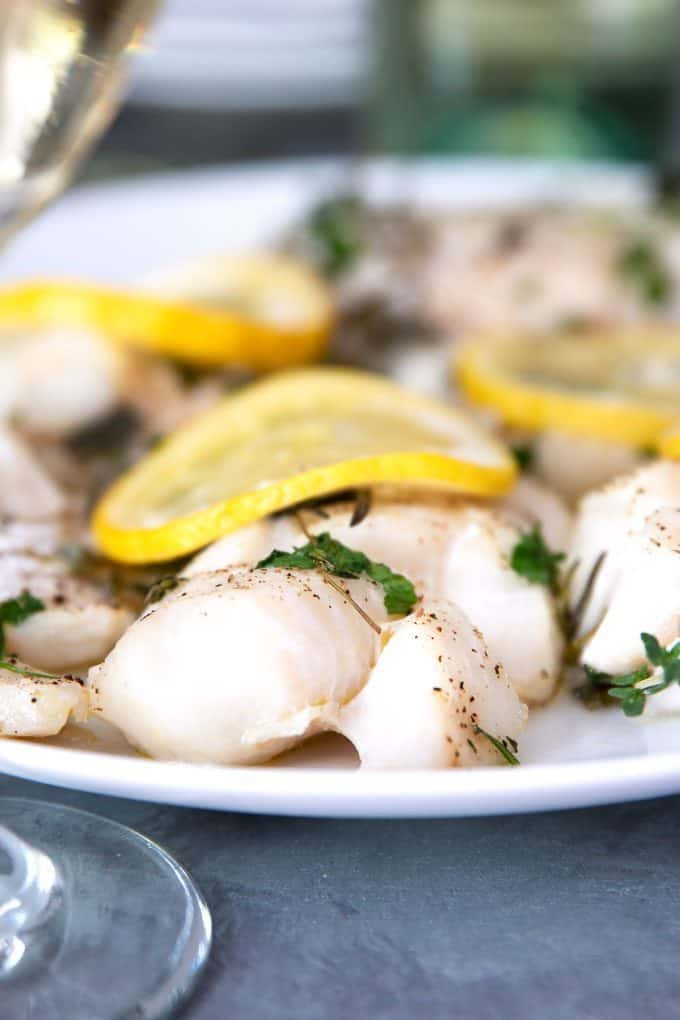 white fish with lemons