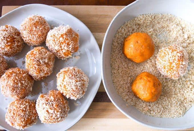 sweet potato balls dipped in panko bread crumbs