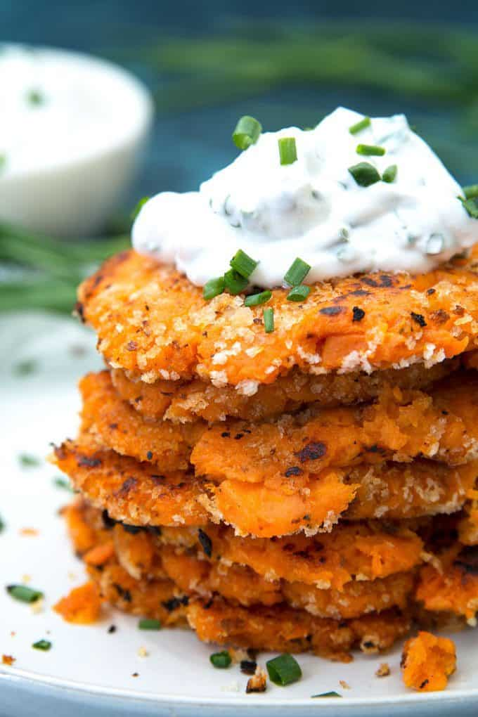 sweet potato pancakes topped with chive dipping sauce