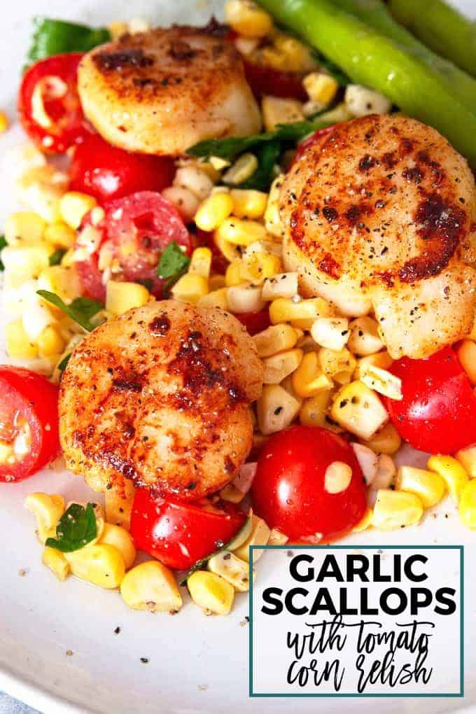 seared garlic scallops with tomato corn relish Pinterest image