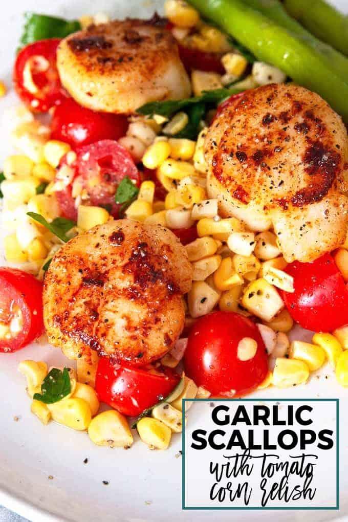 seared garlic scallops with tomato corn relish Pinterest image