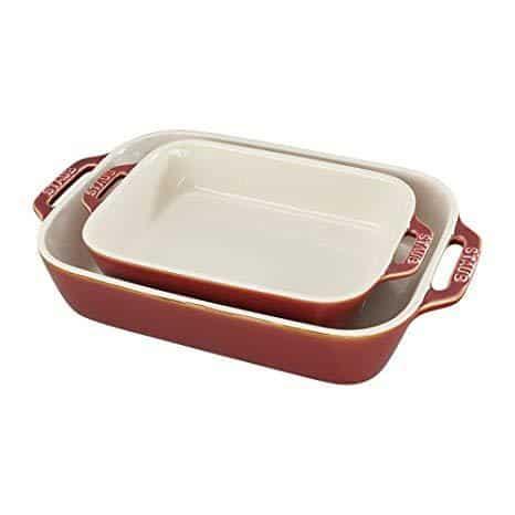 Staub 40511-923 2 Piece Ceramic Rectangular Baking Dish Set, Rustic Red