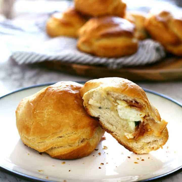 Egg White Bacon Cheese Stuffed Biscuits