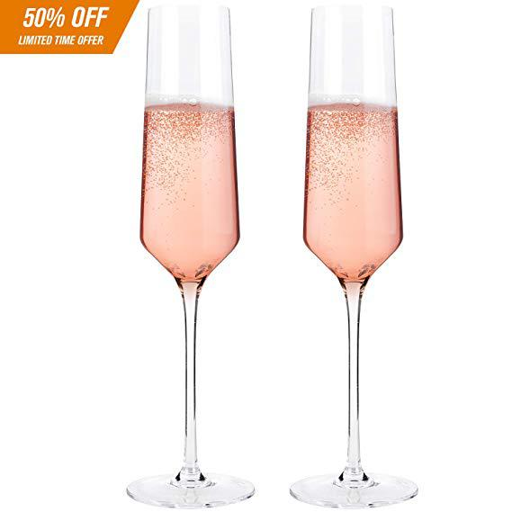 "Classy Champagne Flutes by Bella Vino - Hand Blown Crystal Champagne Glasses Made from 100% Lead Free Premium Crystal Glass, Perfect for Any Occasion,Great Gift, 10"", 7 Oz, Set of 2, Clear"