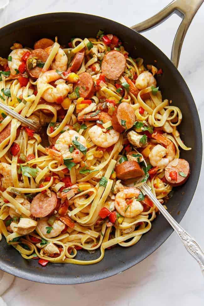 18 Easy Pasta Dinner Recipes - Cajun Jambalaya Pasta