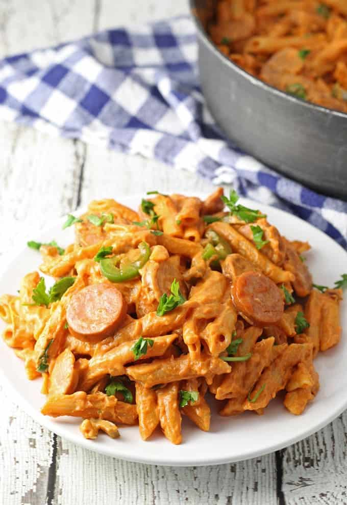 18 Easy Pasta Dinner Recipes - One Pot Spicy Sausage Skillet