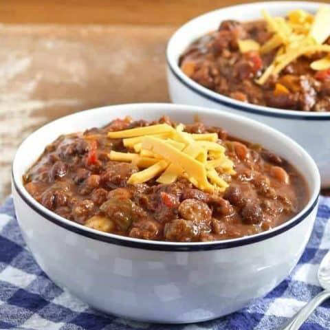 Slow Cooker Ground Beef and Chorizo Chili