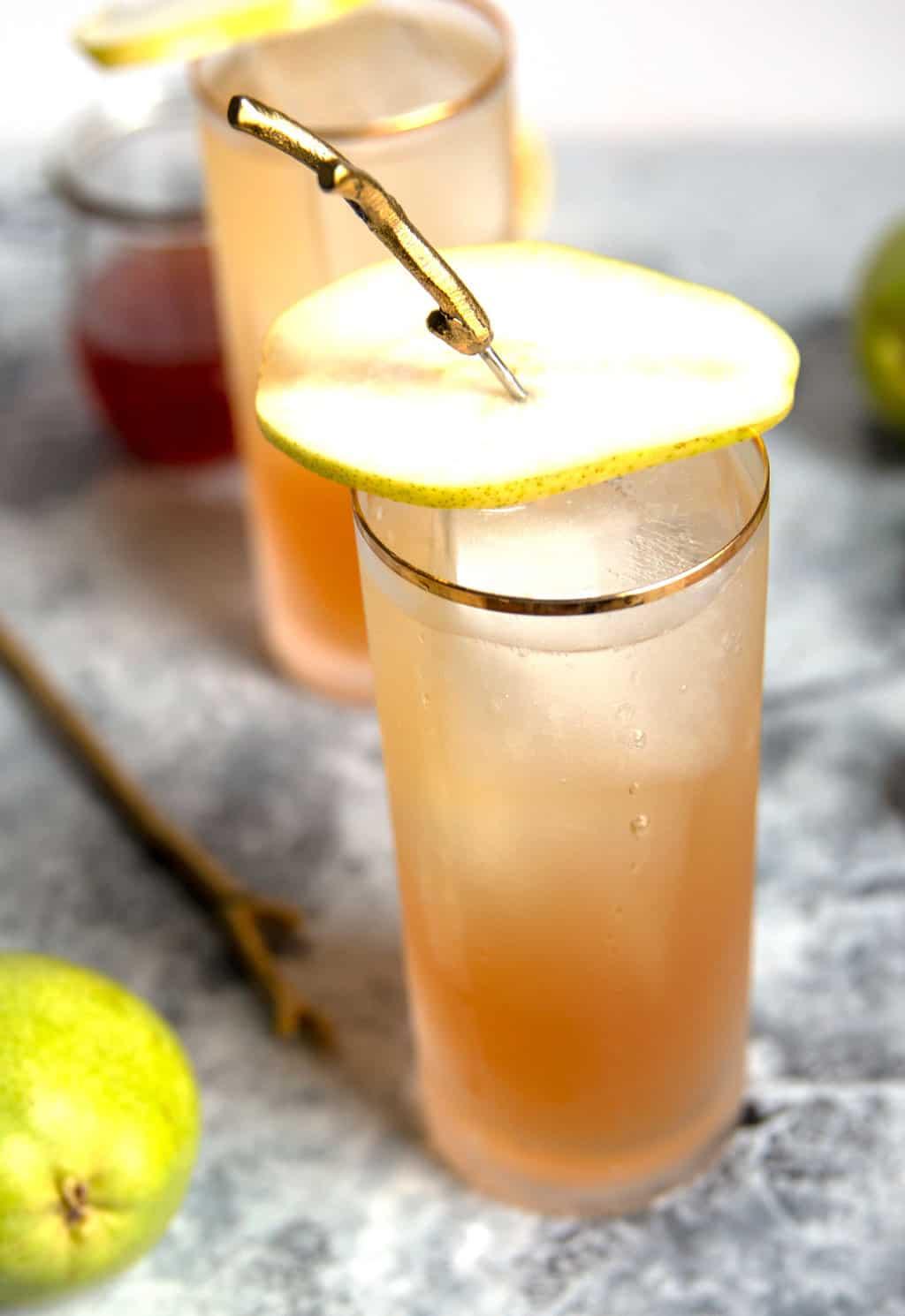 sparkling bourbon pear cocktail