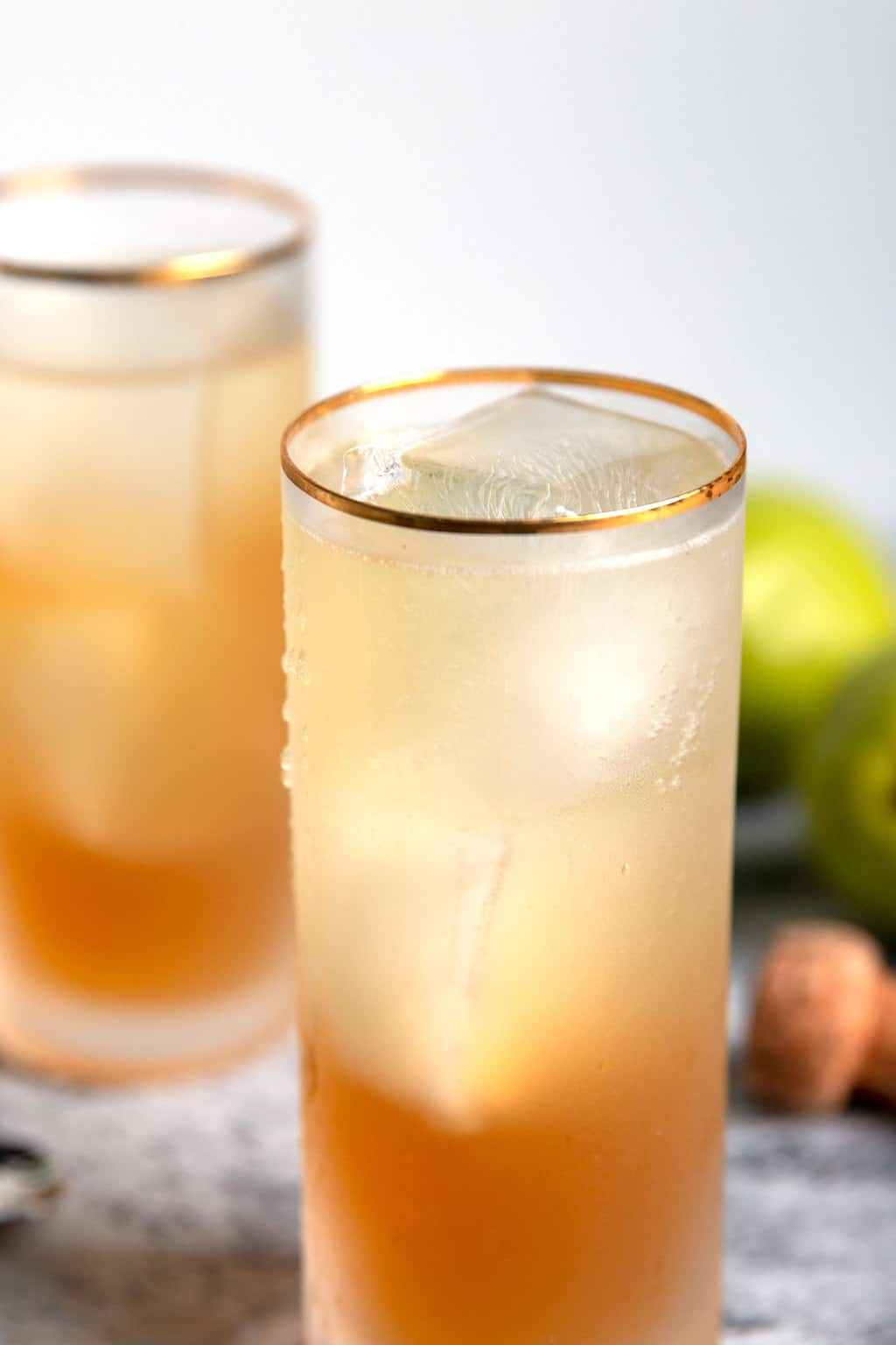 sparkling bourbon pear cocktail without garnish