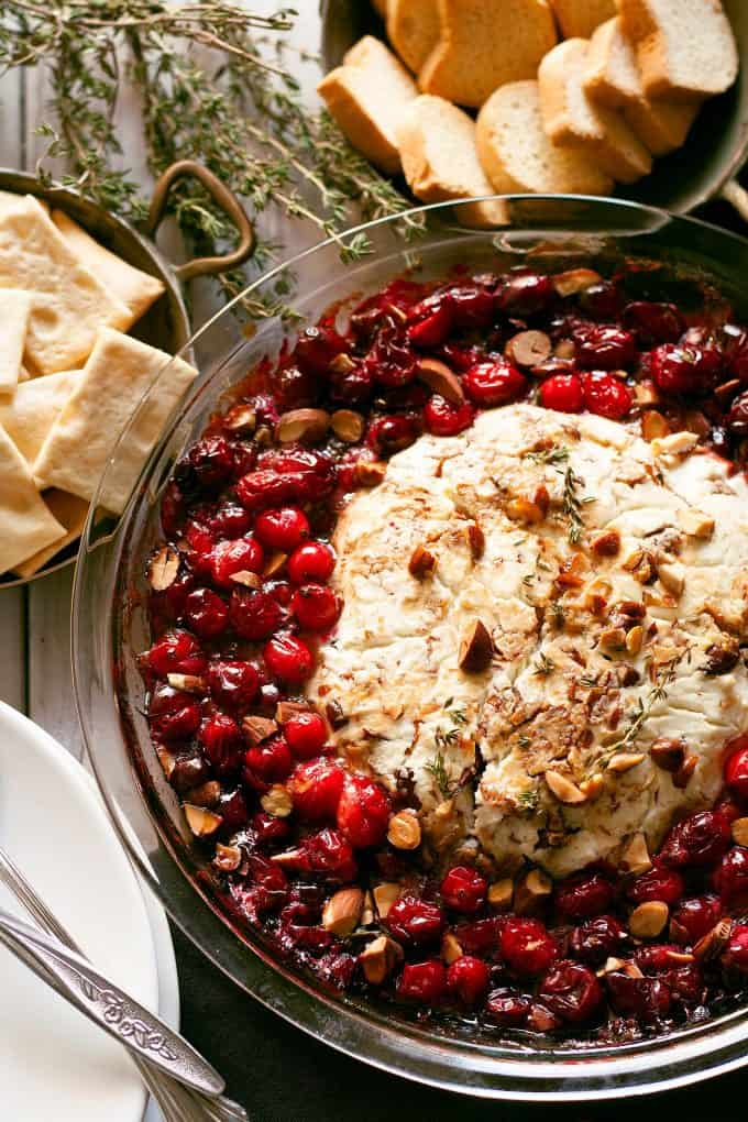 baked goat cheese and roasted cranberry appetizer overhead photo