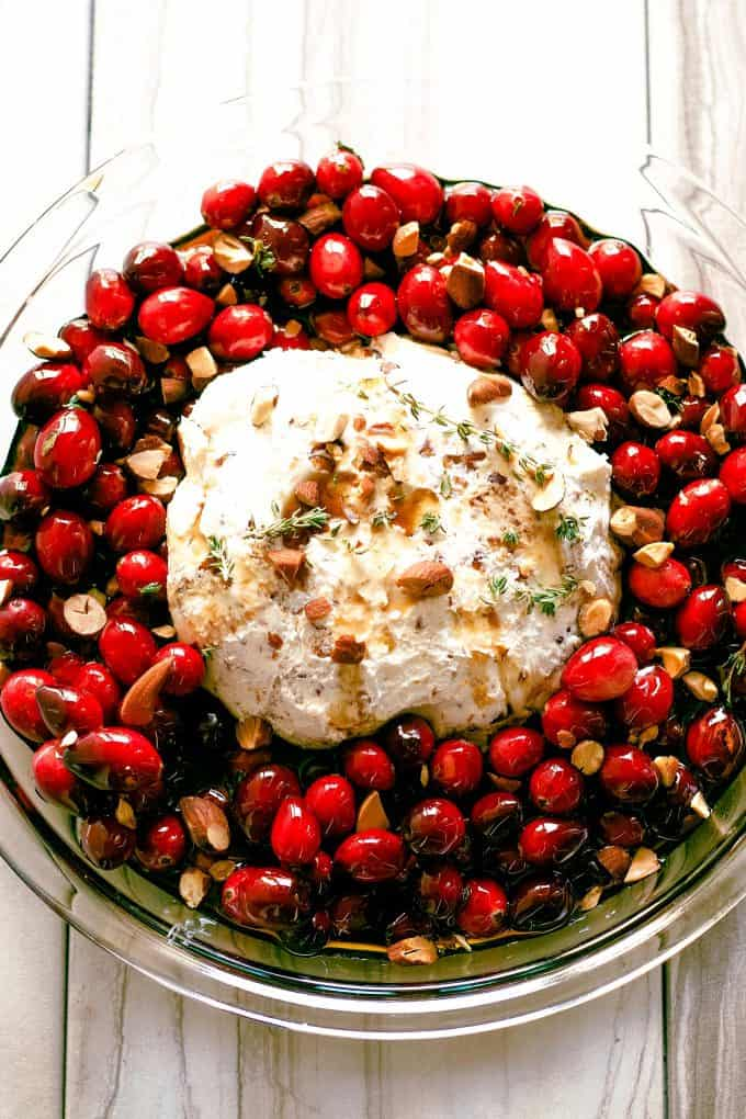 baked goat cheese roasted cranberry appetizer assembled