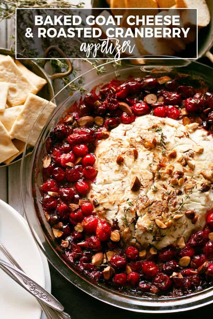 Pinterest image for baked goat cheese roasted cranberry appetizer