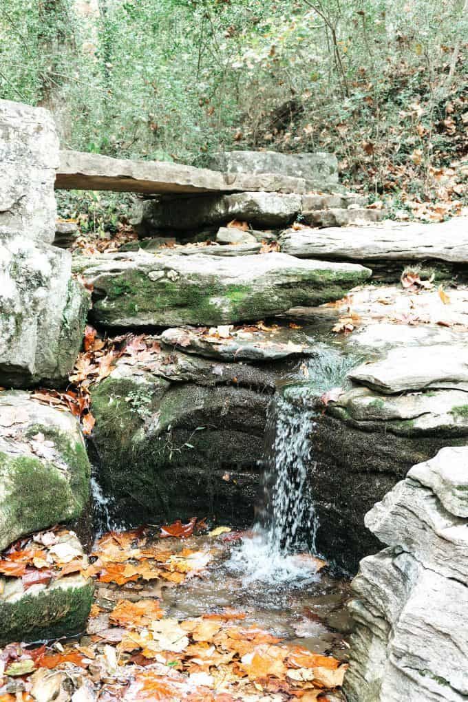 waterfall on the Crystal Bridges nature path
