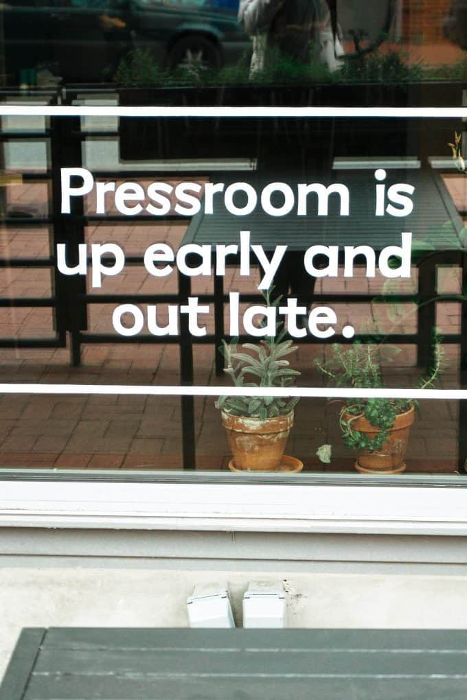 Pressroom window sign