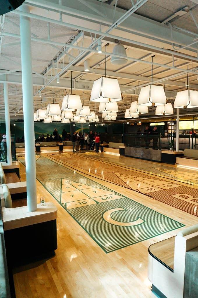 The Holler shuffleboard court