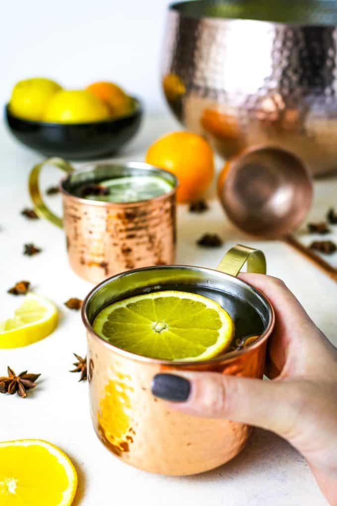 ginger citrus punch in a copper mug