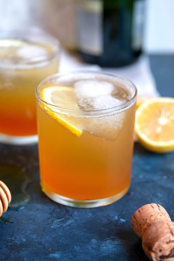 two sparkling honey rye whiskey cocktails