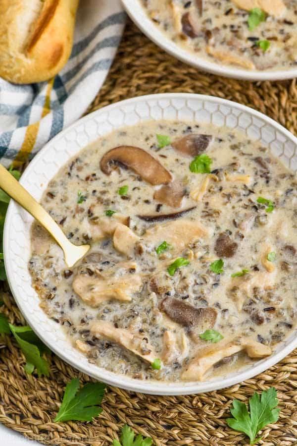 Creamy Chicken and Wild Rice Soup - Wine & Glue