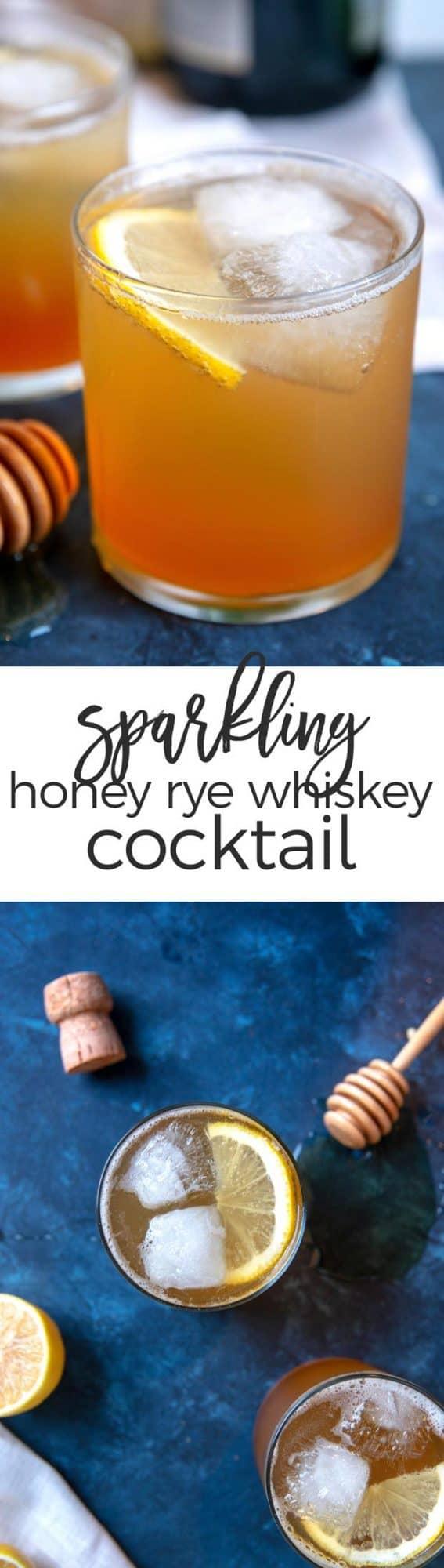 sparkling honey rye whiskey cocktail pin