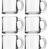 Libbey Crystal Coffee Mug Warm Beverage Mugs Set of (13 oz) (6)