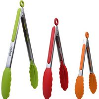 The Original POPCO Food Tongs, Set of 3-7,9,12 Inch, Heavy Duty, Stainless Steel BBQ/Kitchen Tongs with Silicone Tips (Multi)