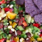 texas caviar with tortilla chips