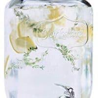 Estilo Glass Single Mason Jar Beverage Drink Dispenser With Leak Free Spigot, 2 Gallon