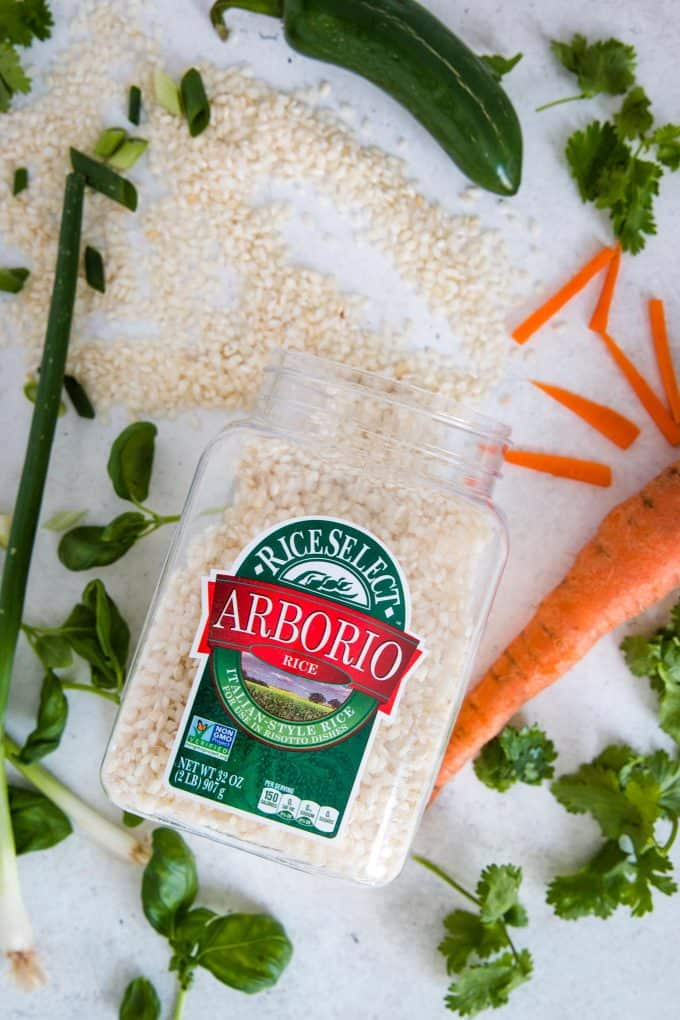 jar of RiceSelect arborio rice with one pot spicy Thai rice ingredients