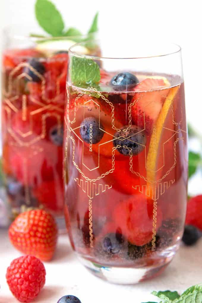two glasses of berry rosé sangria