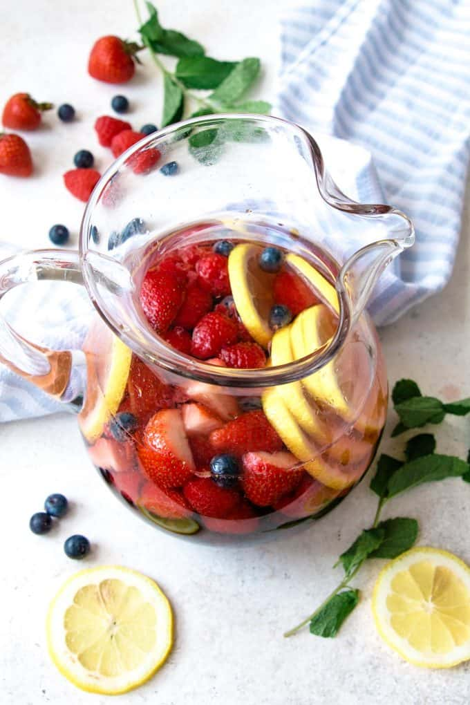 photo of pitcher full of berry rosé sangria