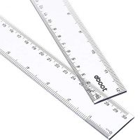 2 Pack 12 Inches Clear Plastic Ruler Straight Ruler Plastic Measuring Tool for Student School Office