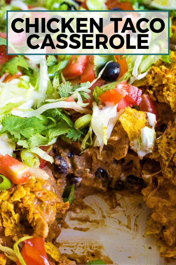 chicken taco casserole pin image