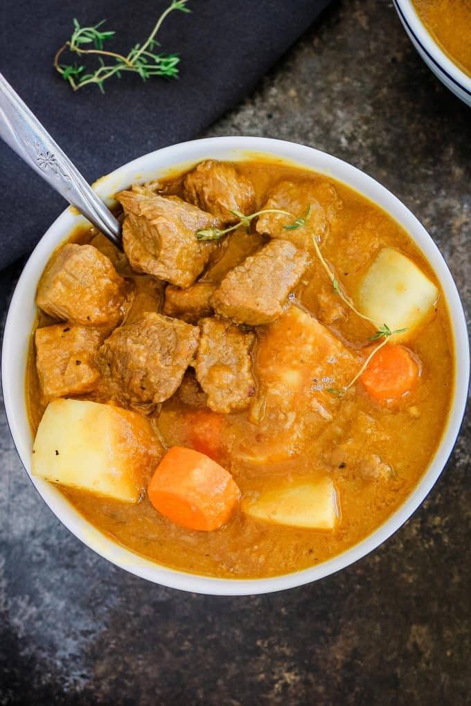 overhead photo of beef pumpkin stew