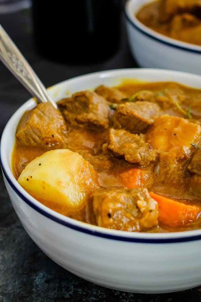 close up photo of beef pumpkin stew