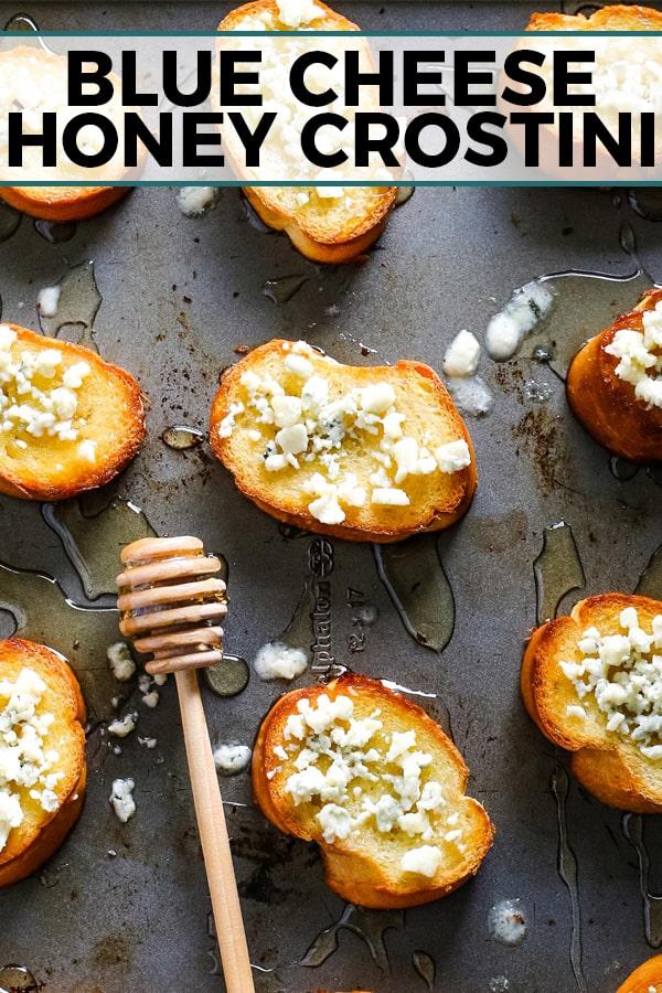 blue cheese honey crostini pinterest image