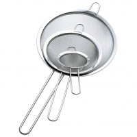 ZESPROKA ZP129 Set of 3 Stainless Steel Fine Mesh Strainers for Kitchen, Silver