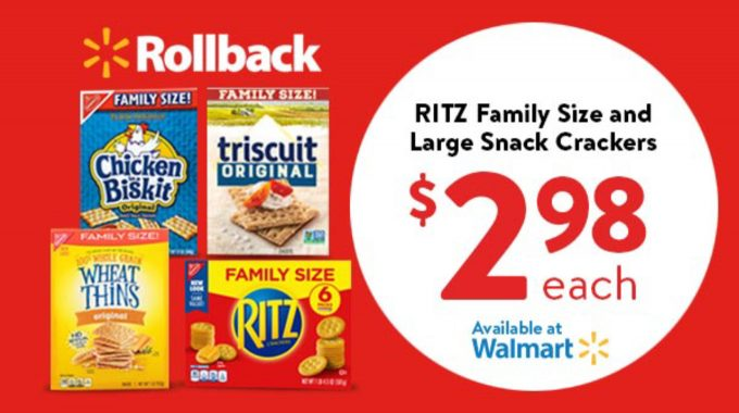Walmart Rollback RITZ Family size snack crackers image