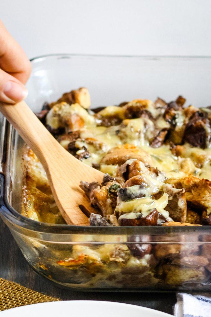 mushroom casserole in a Clear casserole dish