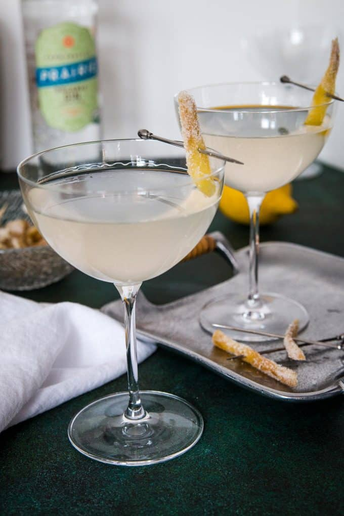 two gin ginger martinis